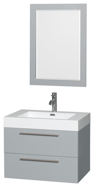 Amare Dove Gray, Vanity, 24 Mirror, 30, Acrylic-Resin, Integrated.