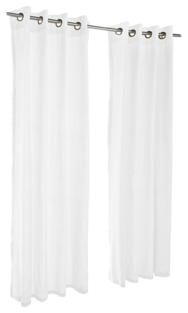 "Pawleys Island Sunbrella Outdoor Gazebo Curtain Panel, Sheer Snow, 50""x108"""