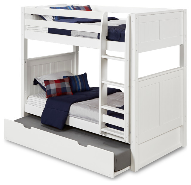 Matthew Bunk Bed With Trundle, White, Twin.