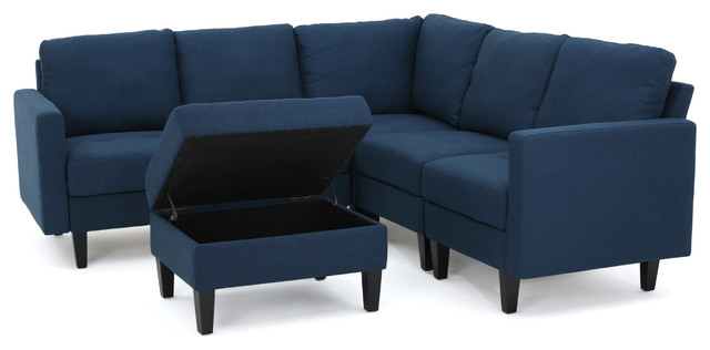 Carolina Fabric Sectional Couch With Storage Ottoman Dark Blue