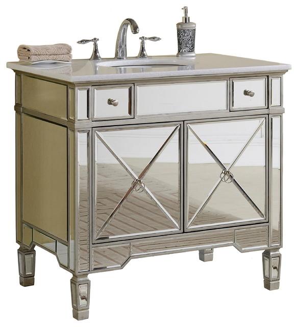 "ashlyn mirrored bathroom vanity with sink, ""  transitional,"