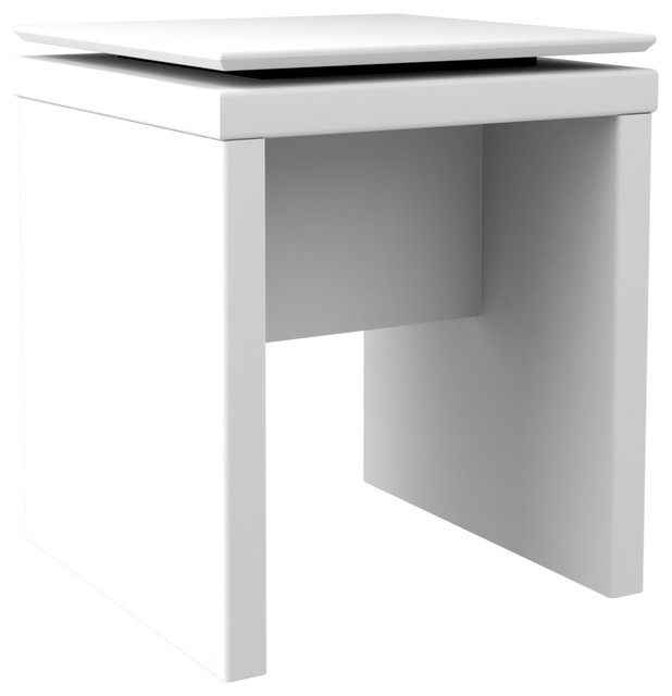 Modern Floating Top Design Accent End Table White Gloss