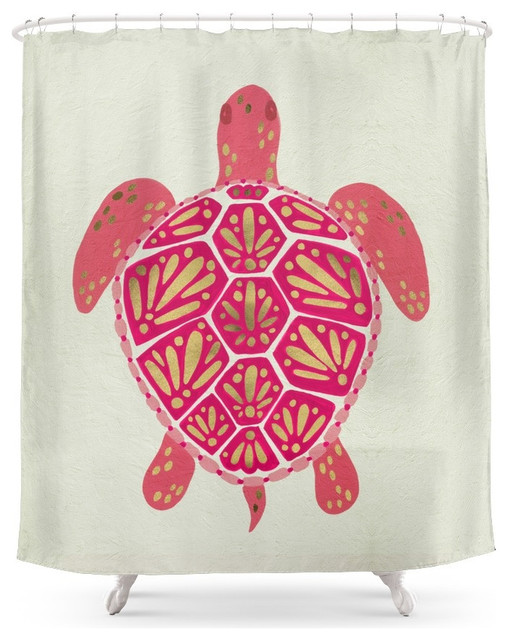 Society6 Society6 Sea Turtle Pink And Gold Shower Curtain Shower Curtains
