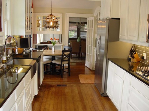 Small Galley Kitchen With Separate Breakfast Nook Opened Up