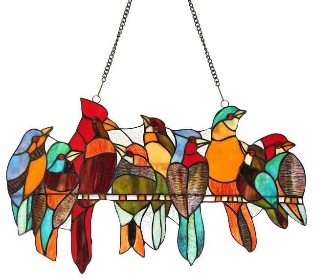 Passerine Stained Glass Hanging Art