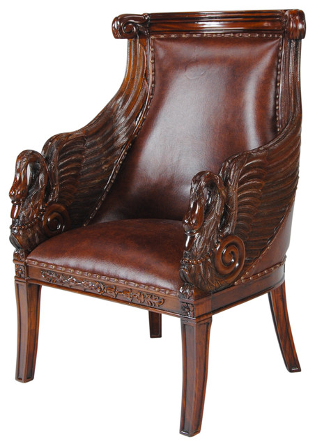 Mahogany Swan Arm Chair With Leather