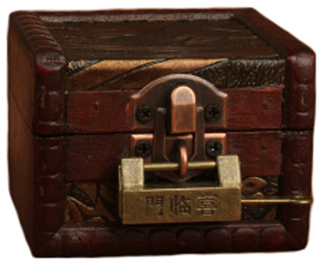 Superbe Vintage Style Wood Mini Treasure Chest Storage Box Jewelry Case With Lock, B