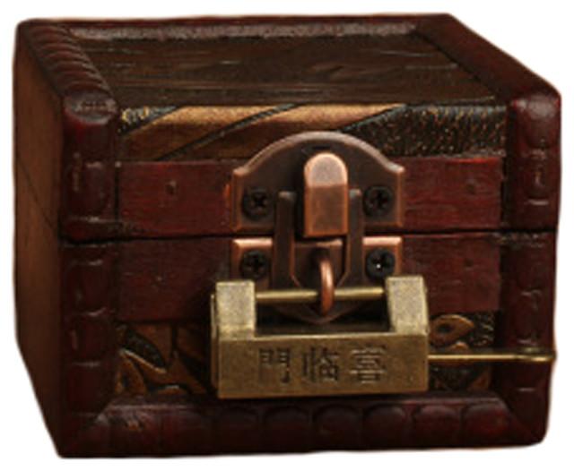 Vintage Style Wood Mini Treasure Chest Storage Box Jewelry Case With Lock B rustic- & Vintage Style Wood Mini Treasure Chest Storage Box Jewelry Case ... Aboutintivar.Com