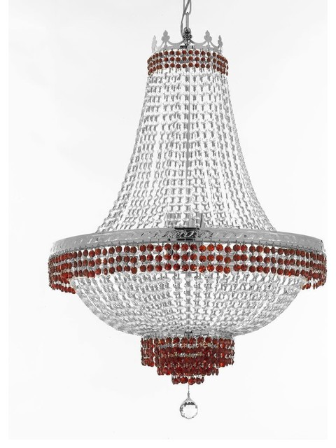 """Gallery T22-2513 Empire 14 Light 30"""" Wide Crystal Empire Chandelier with Red Cr"""