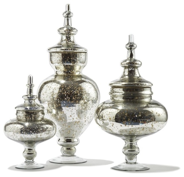 twos company pentimento vintage glass jars with antiqued silver finish traditional decorative jars - Decorative Glass Jars