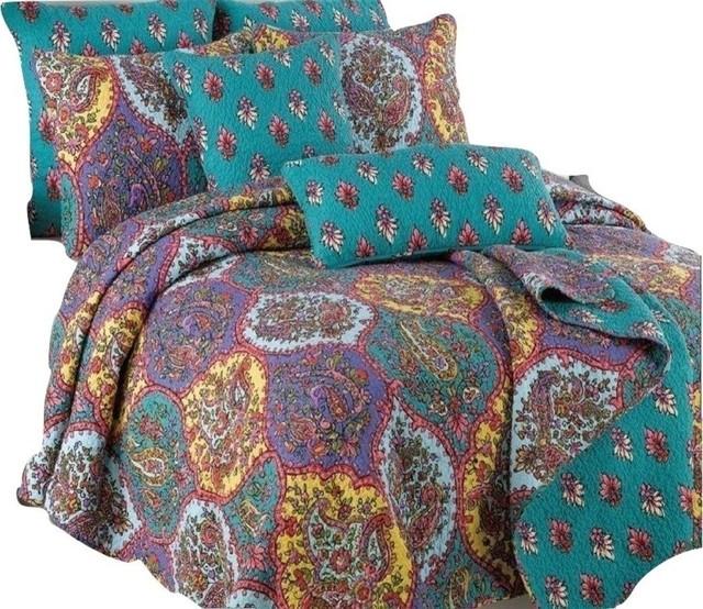 Floral Paisley Galore Bedspread Set 3 Piece Traditional