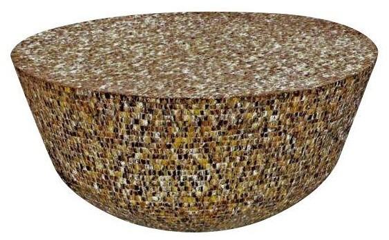 Brown Mother Of Pearl Drum Table Mediterranean Coffee Tables