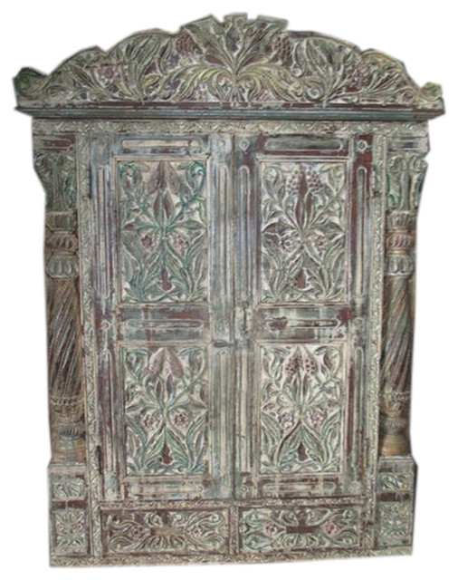 Mogul interior jharokha door antique style frame rustic terrace window hand carved distressed for Antique looking interior doors