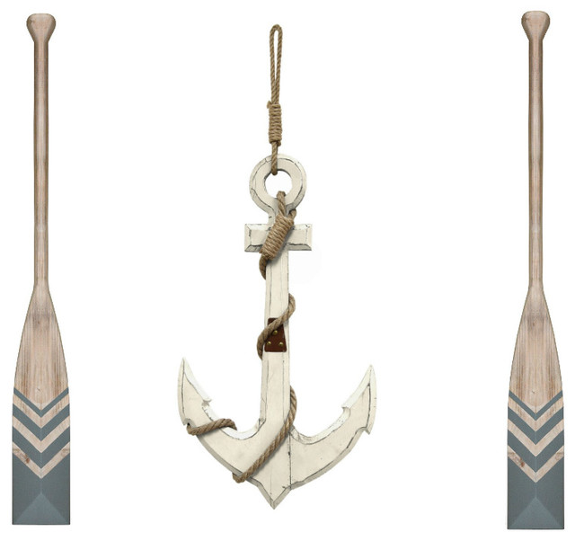 Nautical Anchor Wall Decor With Set Of 2 Nautical Chevron Oar Wall Decor Beach Style Wall Accents By Virventures