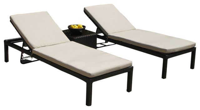 3piece outdoor wicker allweather lounge chair set lounge