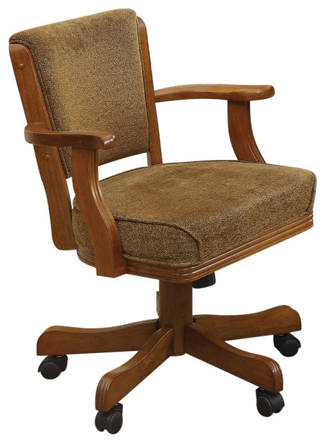 Surprising Cozy Upholstered Arm Game Chair Brown Gmtry Best Dining Table And Chair Ideas Images Gmtryco