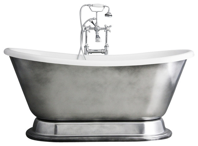 Christoforo\' Acrylic French Bateau Tub Package With Aged Chrome ...