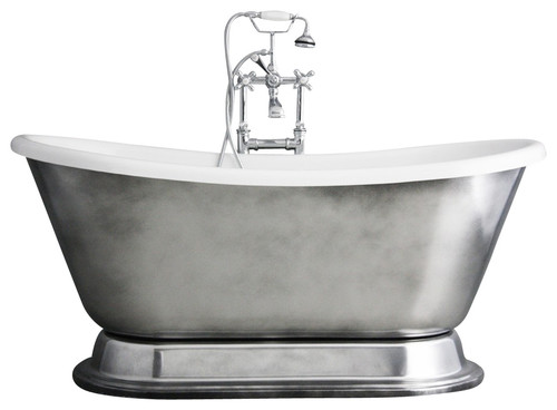 'Christoforo' Acrylic French Bateau Tub Package With Aged Chrome Exterior, 67""