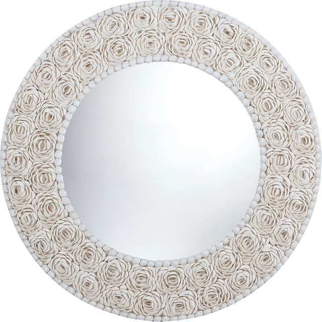 Floral Pattern Clam Shell Framed Mirror.