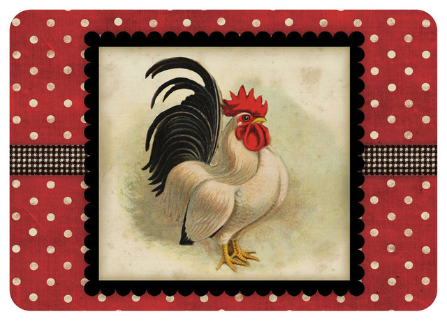 Kitchen Floor Mat, Rooster, Cream And Black Rooster.