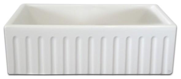"""Fine Fixtures Lichfield White Fireclay 28.75"""" Farmhouse Kitchen Sink"""