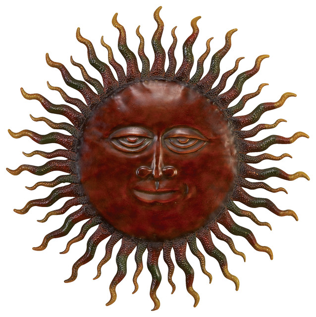 Eclectic Red Iron Sun Wall Decor