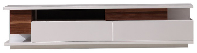 Tv061 Modern Tv Stand In Light Walnut White Lacquer Finish
