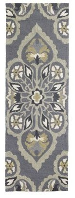 Pierre Damask Hand Tufted 2&x27;6x8&x27; Outdoor Runner, Grey.