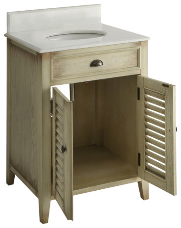 "26"" Cottage-Style Abbeville Bathroom Sink Vanity And Mirror."