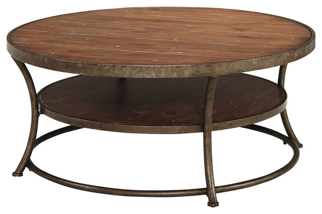 Nartina Round Cocktail Table Light Brown Industrial Coffee Tables By Bedroom Furniture