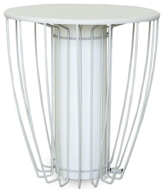 kama bout de canap lumineux en acier blanc contemporain table d 39 appoint et bout de canap. Black Bedroom Furniture Sets. Home Design Ideas