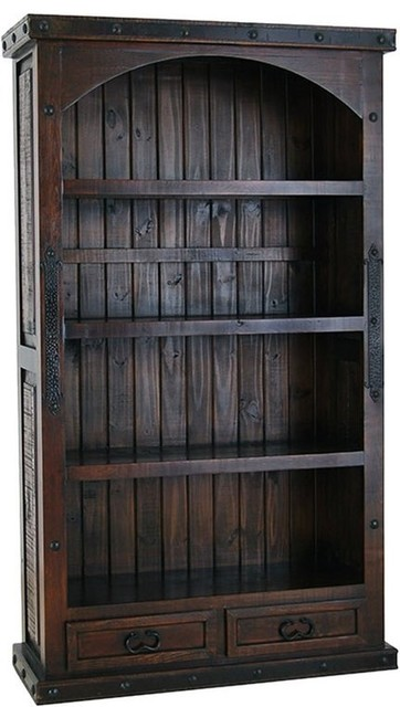 Hacienda Rustic Bookcase W/ 2 Drawers.