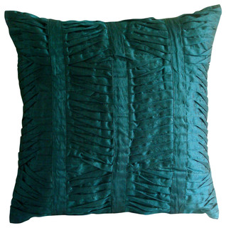 "Royal Peacock Green, 24""x24"" Art Silk Royal Peacock Green Pillow Shams"