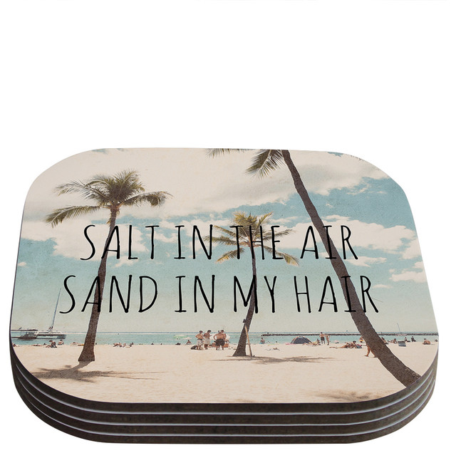 Nastasia cook salt in the air beach trees coasters set for Best coasters for sweaty drinks