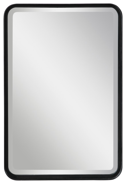 Minimalist Rustic Black Metal Wall Mirror 30 Thin Frame Curved Edge Vanity Transitional Wall Mirrors By My Swanky Home