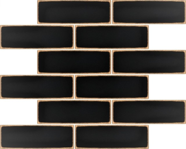 "Metal Mosaic Brick Ancient Black Bronze, 2""X 6"" (12""X12"")"