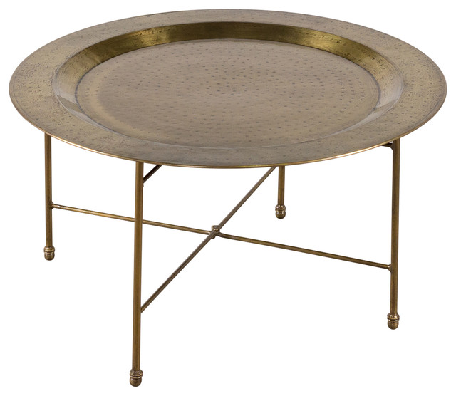 C.G. Sparks Antique Brass-Plated Round Coffee Table