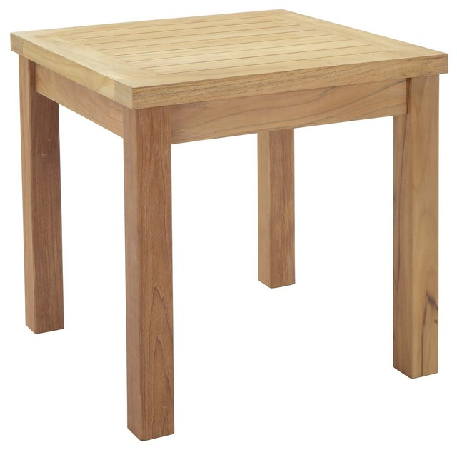 Marina Outdoor Premium Grade A Teak Wood Square Side Table, Natural