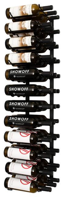 Wall Series 4 Foot Wall Mounted Metal Wine Rack, 36 Bottles, Satin Black.