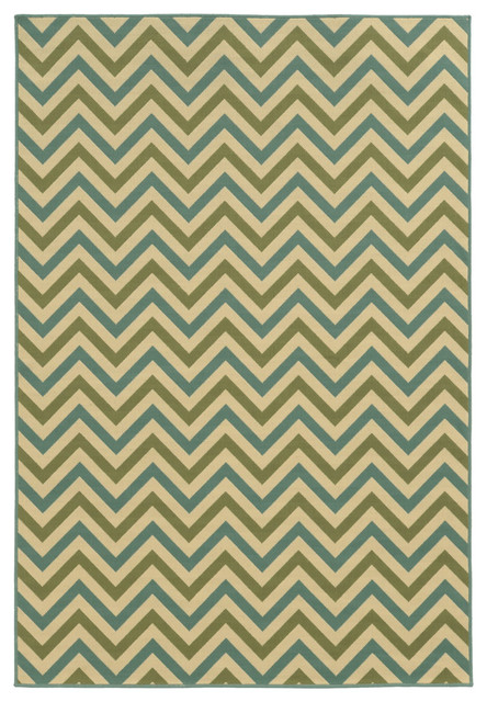 Rhodes Indoor And Outdoor Chevron Green And Blue Rug, 6&x27;7x9&x27;6.