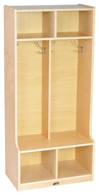 Ecr4 Kids Home 2 Section Straight Books Coat Shoes Storage Locker Natural Contemporary Coatracks And Umbrella Stands By Clickhere2
