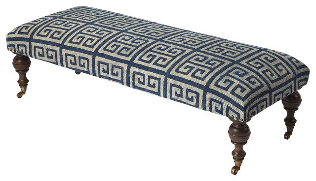 Anthora Greek Key Upholstered Bench - Blue.