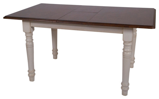 Bordeaux Butterfly Table, Antique White With Chestnut Top.