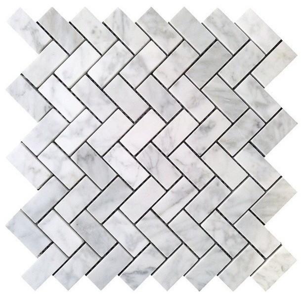 Carrara Herringbone Pattern Polished Tile White 10 Sq Ft 1x2