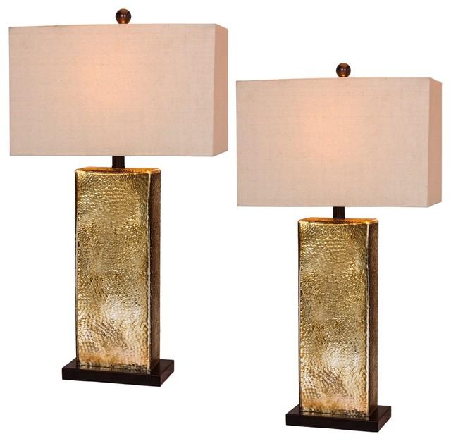 "29.5"" Hammertone Brown Mercury Glass Pillar Table Lamps, Set Of 2."