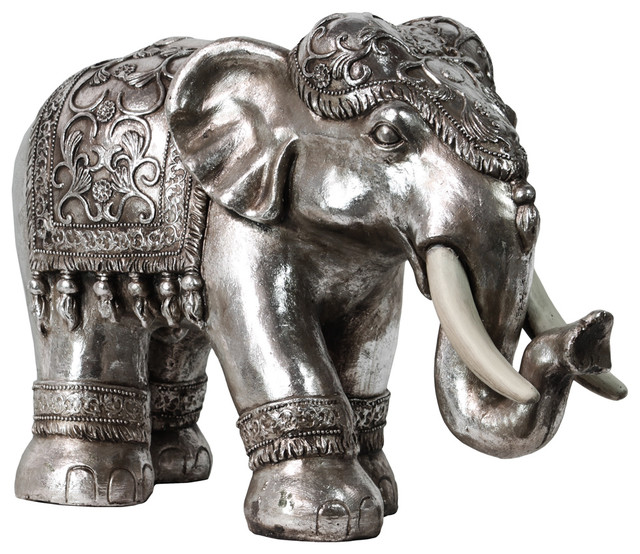 Resin Standing Indian Ceremonial Elephant Figurine Large Traditional Decorative Objects And