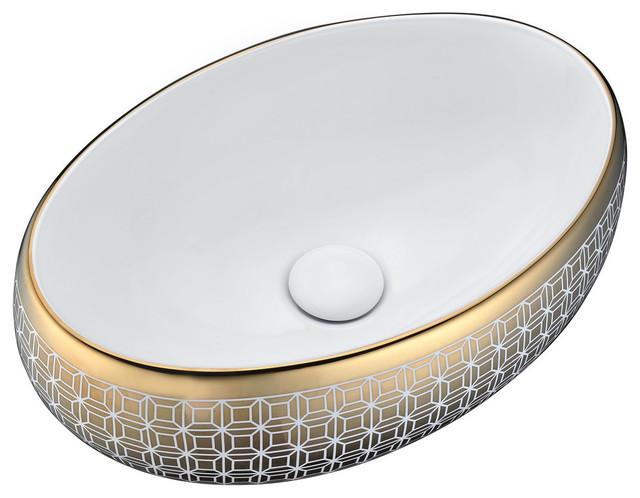 Sona Series Ceramic Vessel Sink, Gold.