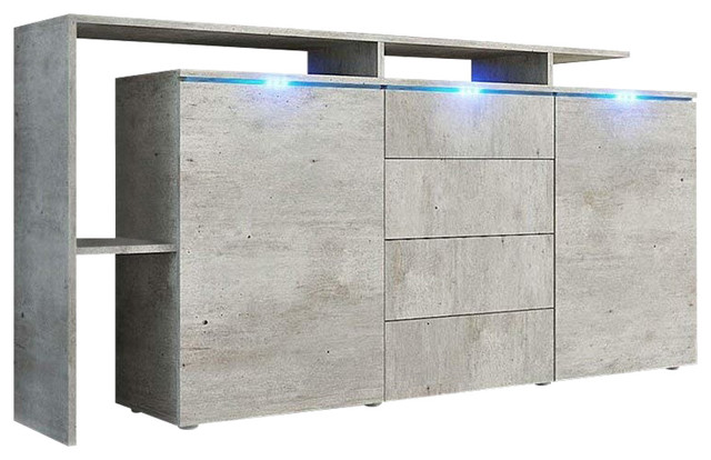Modern Sideboard, Concrete Grey Finish MDF With 2-Door and 4-Storage Drawer