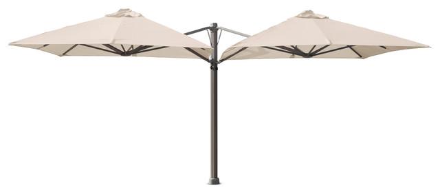 9&x27;10 Square Duo Arctic White Umbrella, Portable Base.