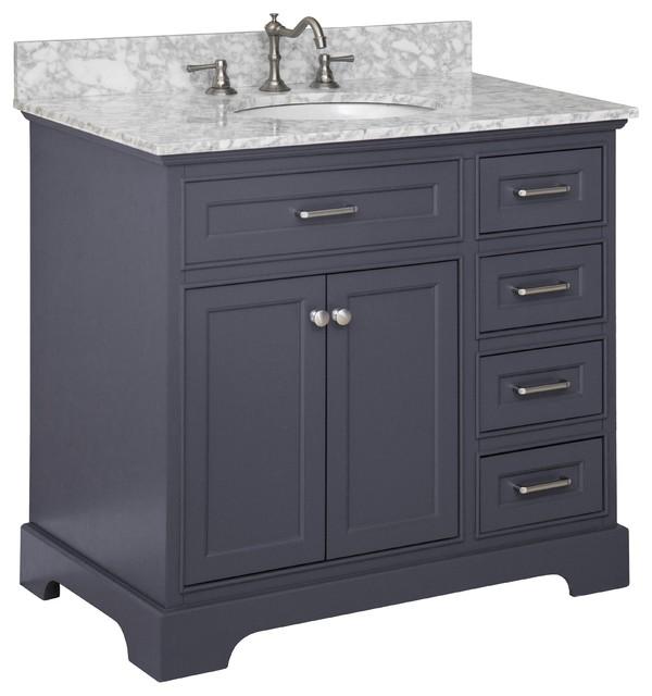 "Aria Bathroom Vanity, Base: Charcoal Gray, 36"", Top: Carrara Marble"